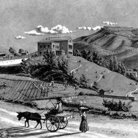 Vista del paesaggio in una rappresentazione d'epoca in cui compare lontano la villa sulla collina ed in priomo piano un carro con mulo e una donna che porta un cesto